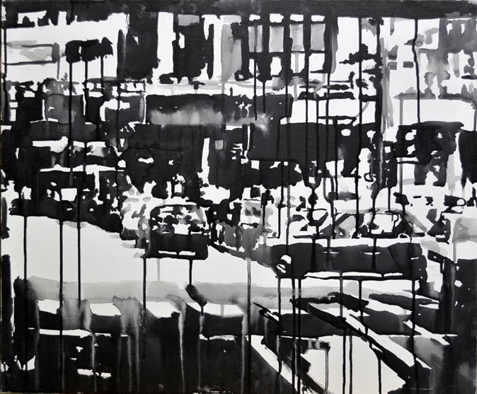Shibuya in the Rain, 2009. sumi ink on canvas-Rikki Kasso