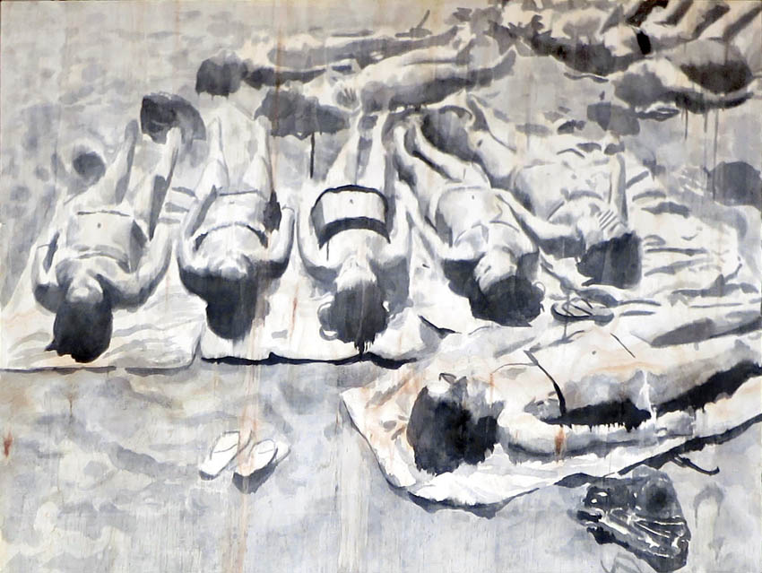 UNTITLED-SUNBATHERS-RIKKI KASSO- 2014 - 120 x 90 cm-sumi on wood-©