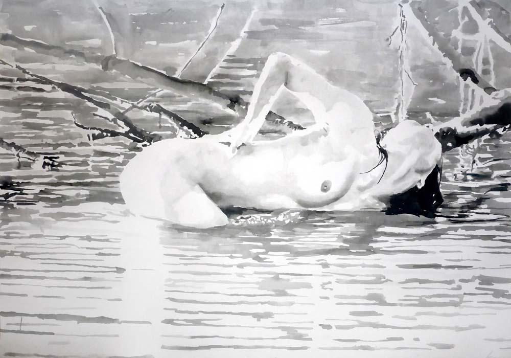 Minori Bathing_Rikki Kasso_2015_ sumi ink on paper