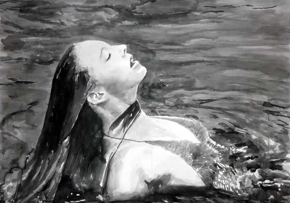 Untitled Ellie in the Water_Rikki Kasso_2015_ sumi ink on paper