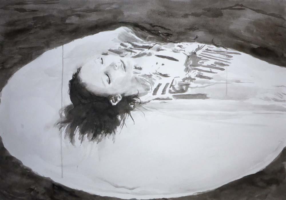Waterlilly_Rikki Kasso_2015_ sumi ink on paper